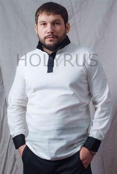 Рубаха Holyrus белая с черными манжетами и воротом стойка