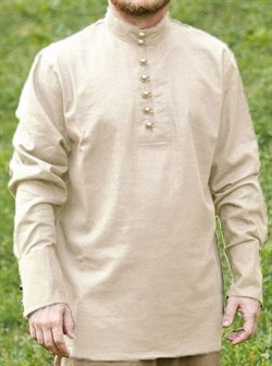 Рубаха Holyrus с манжетами и воротником стойка бежевая - фото 15520