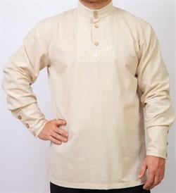 Рубаха Holyrus Православная с манжетами и вышивкой бежевая - фото 43558