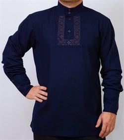 Рубаха Holyrus Православная с манжетами и вышивкой синяя - фото 43560