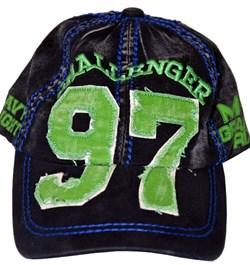 Бейсболка М-1 Grand Prix черно-зеленая - вид спереди