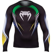 Компрессионная футболка Venum Brazilian Hero Black/Yellow/Green L/S