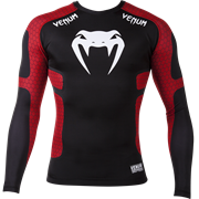 Рашгард Venum Absolute Compression T-Shirt - Black/Red - Long Sleeves