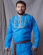 Рубаха Holyrus с декоративной нашивкой голубая