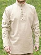 Рубаха Holyrus с манжетами и воротником стойка бежевая