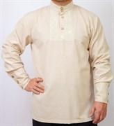 Рубаха Holyrus Православная с манжетами и вышивкой бежевая
